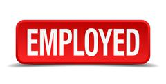 Employed red 3d square button isolated on white background Stock Illustration