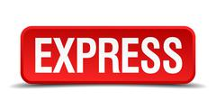 Express red 3d square button isolated on white background Stock Illustration