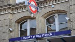 Putney Bridge Station Sign Stock Footage