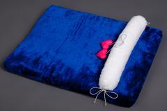 beautiful navy blue children's mattress - stock photo