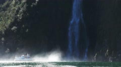 milford sound cruise and waterfall - stock footage