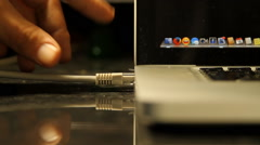 Hand Removing Ethernet Cable From Laptop, Media, Technology, Energy, Front Shot - stock footage
