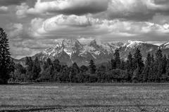 Greyscale image of slovenian mountains Stock Photos