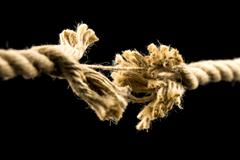 Frayed rope about to break Stock Photos