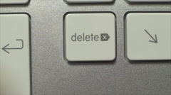 Hand Pushing The Delete Key, On A White Desktop Keyboard, Technology - stock footage