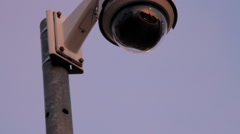 Street Traffic Cam On A Nice Blue Sky, Surveillance, Reflection, Close Up Tilt Stock Footage