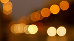 Bright Orange And Yellow Bokeh Traffic Lights, Cars, Downtown, Animated - stock footage