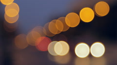 Bright Orange And Yellow Bokeh Traffic Lights, Cars, Downtown, Movement - stock footage