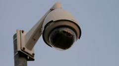 Street Traffic Cam On A Nice Blue Sky, Surveillance, Camera, Reflection Close Up - stock footage