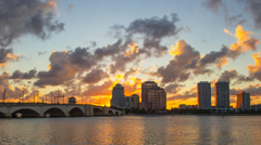 West Palm Beach City Skyline Downtown Buildings Sunset Royal Park Bridge Stock Footage