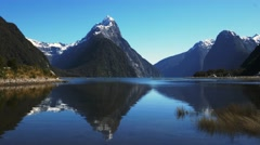 Mitre peak reflections Stock Footage
