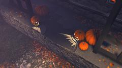 Halloween pumpkins on the porch of the gloomy house - stock illustration