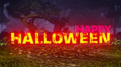 Glowing Happy Halloween text in the dark forest - stock illustration