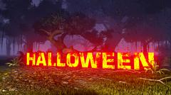 Glowing Halloween text in the dark forest Stock Illustration