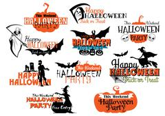Set of happy halloween vector designs Stock Illustration
