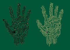 Hand prints with electrical circuit boards Stock Illustration