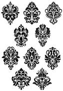 set of large foliate arabesque design elements - stock illustration