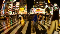 Time Lapse - Busy Shinjuku Entertainment / Shopping District at Night Stock Footage