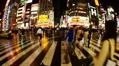 Time Lapse - Busy Shinjuku Entertainment / Shopping District at Night Stock Footage