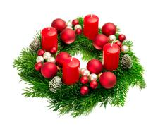 advent wreath on pure white - stock photo