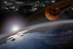 Doom morning on Earth - stock illustration