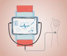 Smart wristwatch - stock illustration