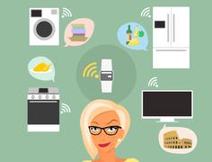 Blond woman thinking about smart gadgets at home and applications around her Stock Illustration