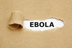 ebola torn paper - stock illustration