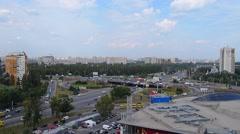 Traffic on multilevel junction Stock Footage
