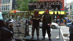 News footage of Black Israelites preaching Washington, D.C. (2 of 9) Stock Footage