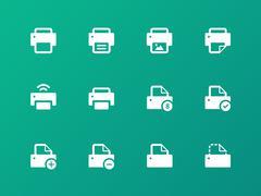 Printer icons on green background. Stock Illustration