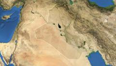 Iraq. 3d earth in space - zoom in on Iraq contoured on green 4k Arkistovideo