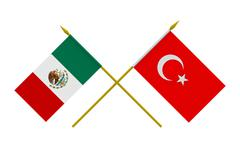 flags, turkey and mexico - stock illustration