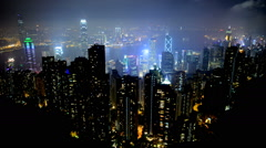 Time Lapse of Hong Kong City and Victoria Harbour at Night from Victoria Peak Stock Footage
