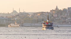 Passenger ship drifts past Tophane to Karakoy Stock Footage