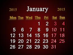 Stock Illustration of calendar on january of 2015 year on claret