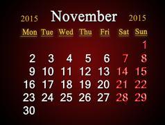 calendar on november of 2015 year on claret - stock illustration