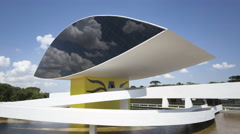 4K Time lapse Niemeyer Museum Curitiba zoom out Stock Footage