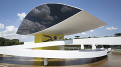 Stock Video Footage of Time lapse Niemeyer Museum Curitiba close up