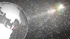 Earth animation with lens flares and constellation points Stock Footage