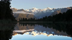 Mt cook lake matheson pan Stock Footage