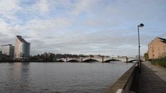 Putney Bridge pan Stock Footage