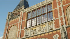 Stock Video Footage of Detail Rijksmuseum, tableau, tower & glass windows