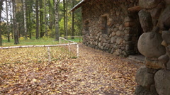 Fabulous house in a park surrounded by golden fall foliage Stock Footage