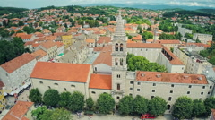 Sinj main church, circular aerial shot Stock Footage