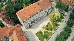Sinj square Promenade, aerial shot Stock Footage