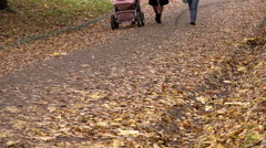 People walk on square in gold and yellow foliage in boots and shoes Stock Footage