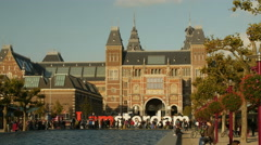 Rijksmuseum in golden sunlight wide Stock Footage
