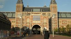 Stock Video Footage of Rijksmuseum in golden sunlight