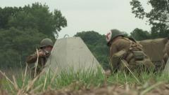 American medic in the dragons teeth WW2 Stock Footage